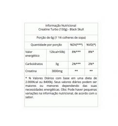 CREATINE TURBO (150G) - TABELA NUTRICIONAL