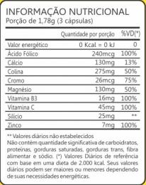 Tabela Nutricional Café Verde 500mg + Colina-Cromo-Magnésio (60 caps).